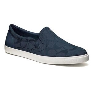 Authentic Like new COACH navy slip on sneakers